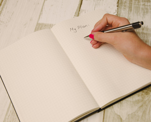 Female hand holding a pen and writing a plan in a planner