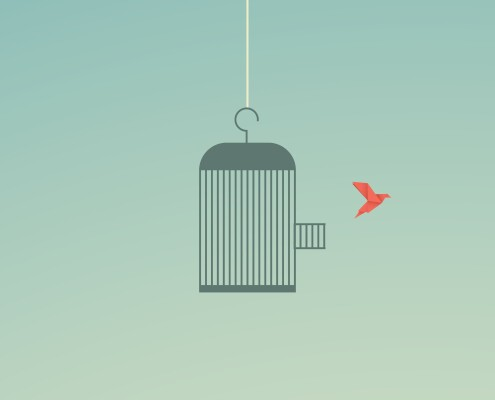 Minimalist stile. vector business finance. Flying bird and cage Freedom concept. Emotion of freedom and happiness